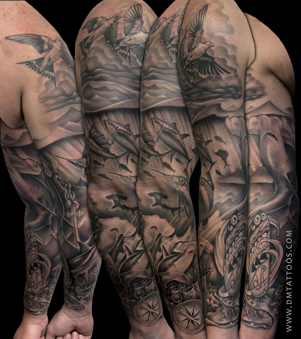 Black And White Sleeve Tattoo Designs For Men: Black And Grey Underwater Scene Sleeve Tattoo By David