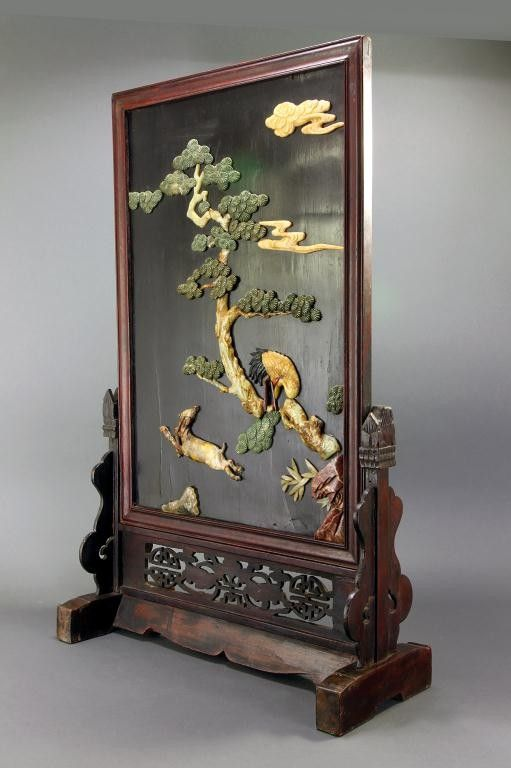 Chinese Screen Inlaid With Carved Hard Stone And Ivory