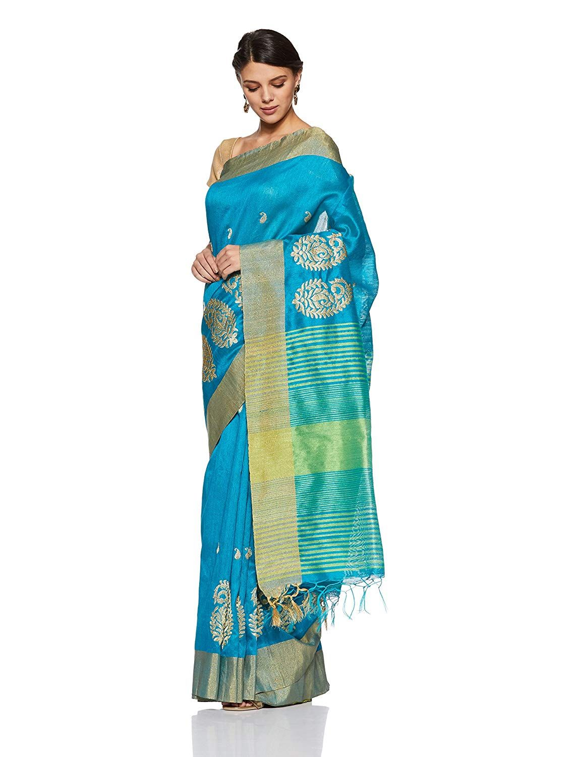 1302d743fa998 Aalia Art Silk Embroidered Saree with Blouse piece (8803-Blue