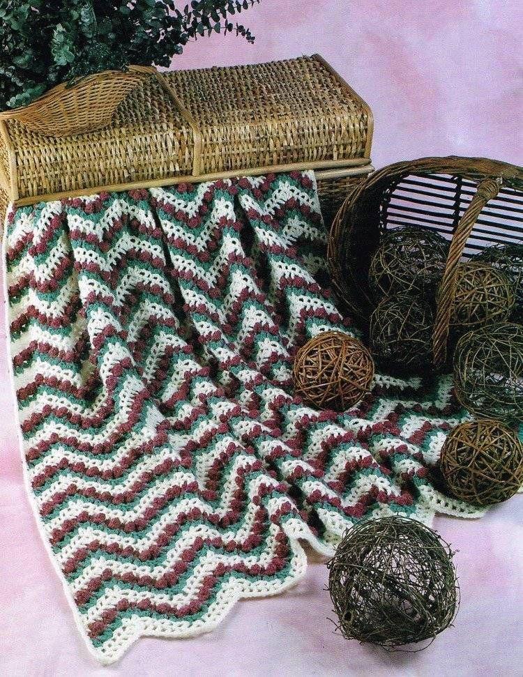 Rosebud Ripple Afghan Crochet Pattern Blanket Throw Instructions
