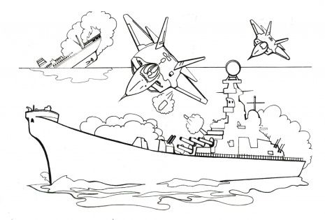 Atacking Battleship With Bombs Bee Coloring Pages Kids Printable Coloring Pages Lego Coloring Pages