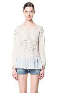 0bcb032a Details about AUTHENTIC ZARA CREAM EMBROIDERED FLORAL ROMANTIC ...