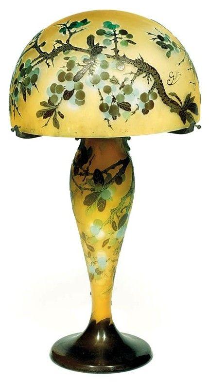 Emile Galle Lampe Champignon Aux Rameaux De Prunellier Lamps