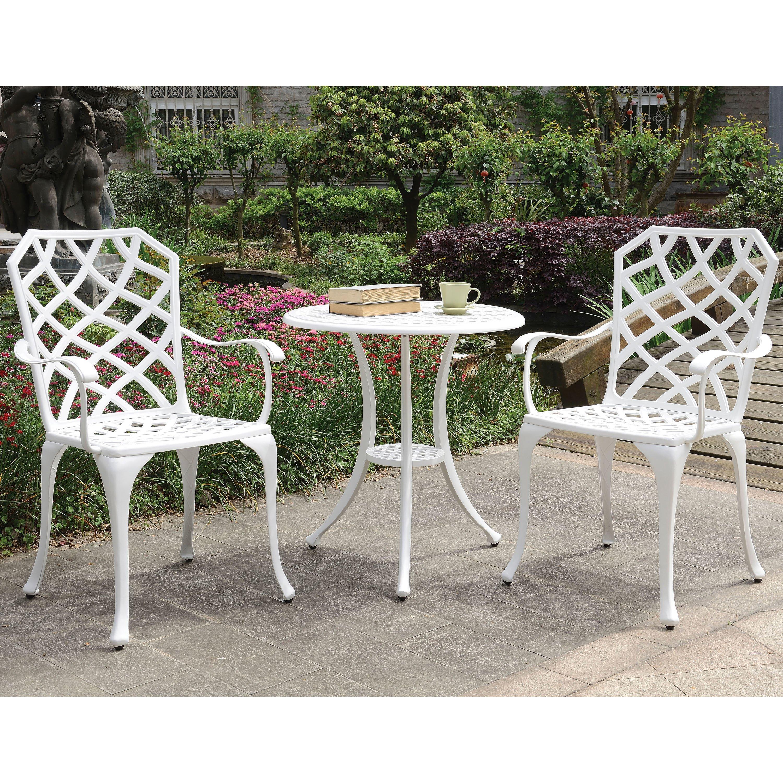 Amberley Trellis Outdoor Bistro Table Set By Foa Black
