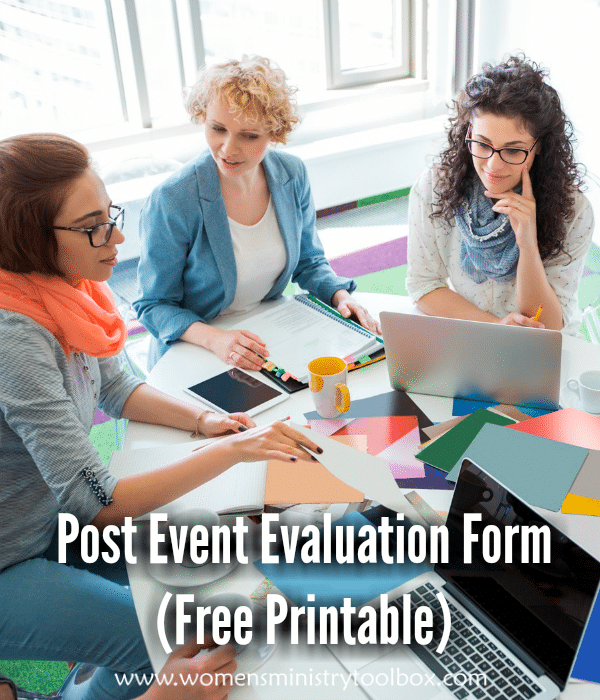 Post Event Evaluation Form Free Printable  Toolbox Church Ideas