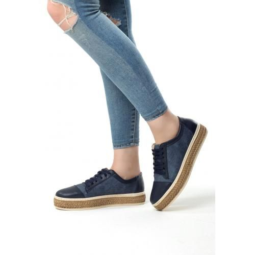 Beh Lacivert Cilt Bagcikli Bayan Spor Babet Ayakkabi Babetler Ayakkabilar Sandalet