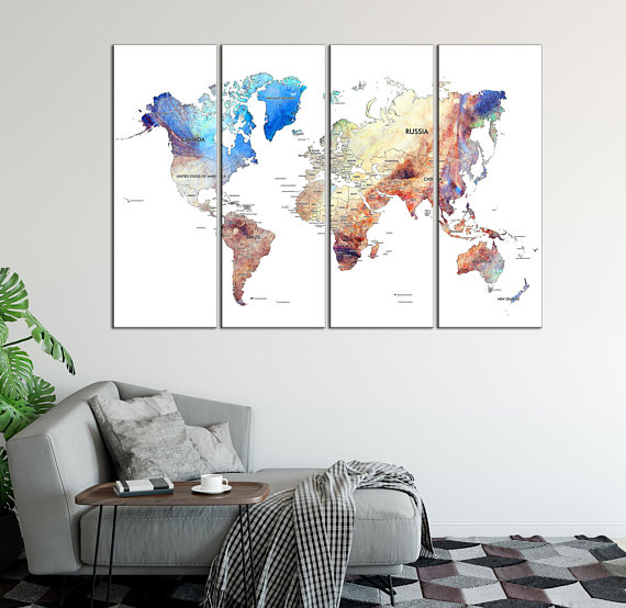 Watercolor World Map Canvas Print Large Detailed World Map Canvas
