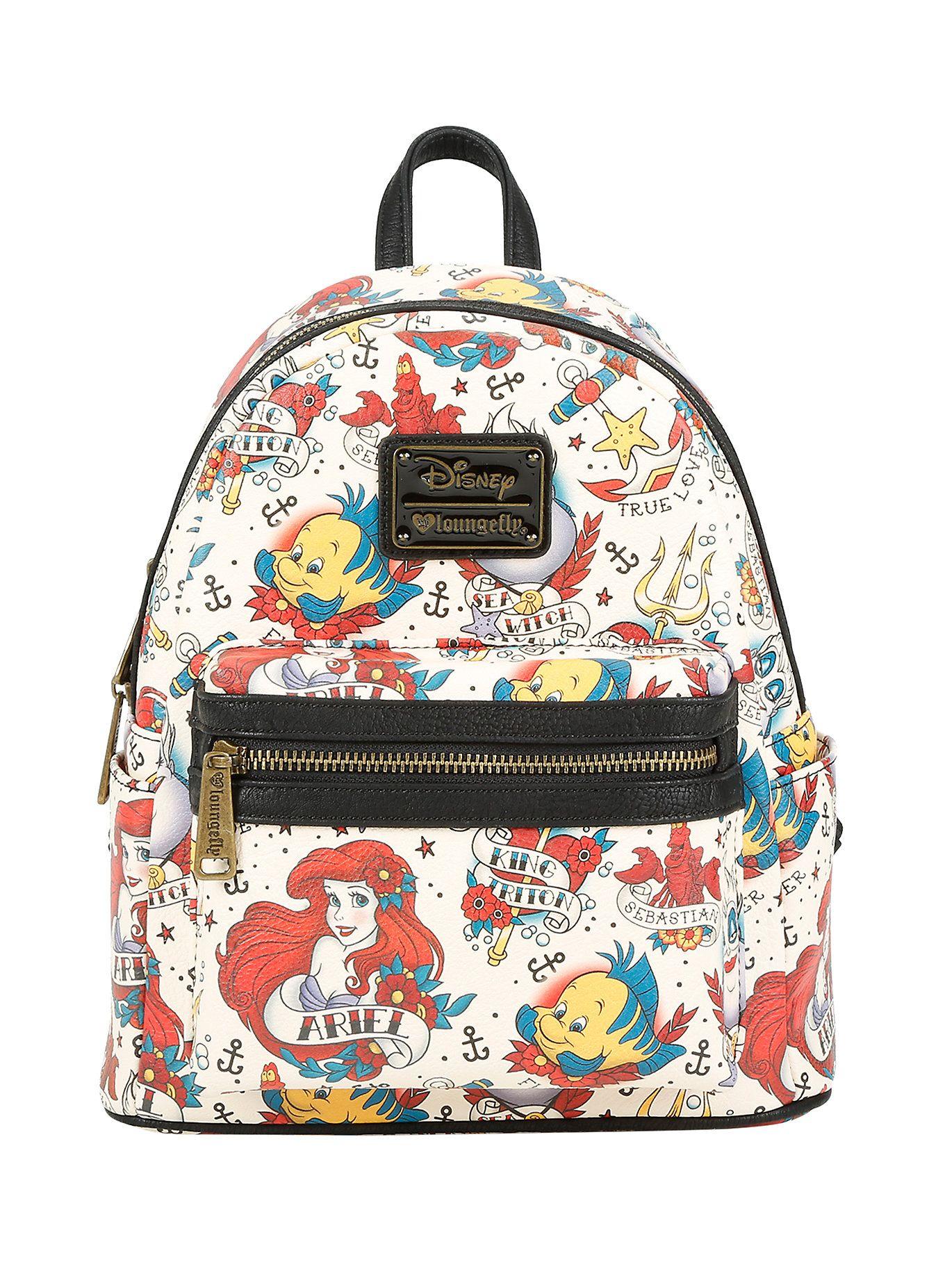 Disney the little mermaid ariel tattoo art mini backpack