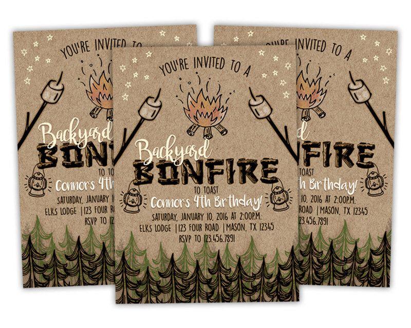 Printable Bonfire Birthday Invitation - Bonfire Invitations ...