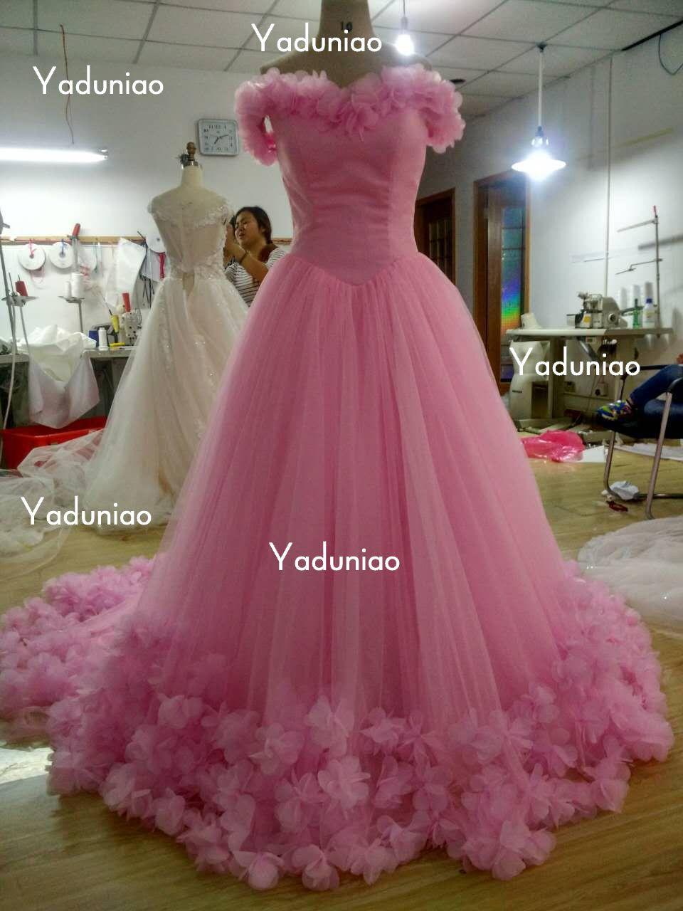 Flowers Pink Quinceanera Dresses Big Long Tail Lace up Quinceanera ...