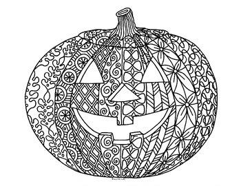 Halloween Jack O Lantern Zentangle Coloring Page Halloween Jack O Lanterns Halloween Jack Coloring Pages