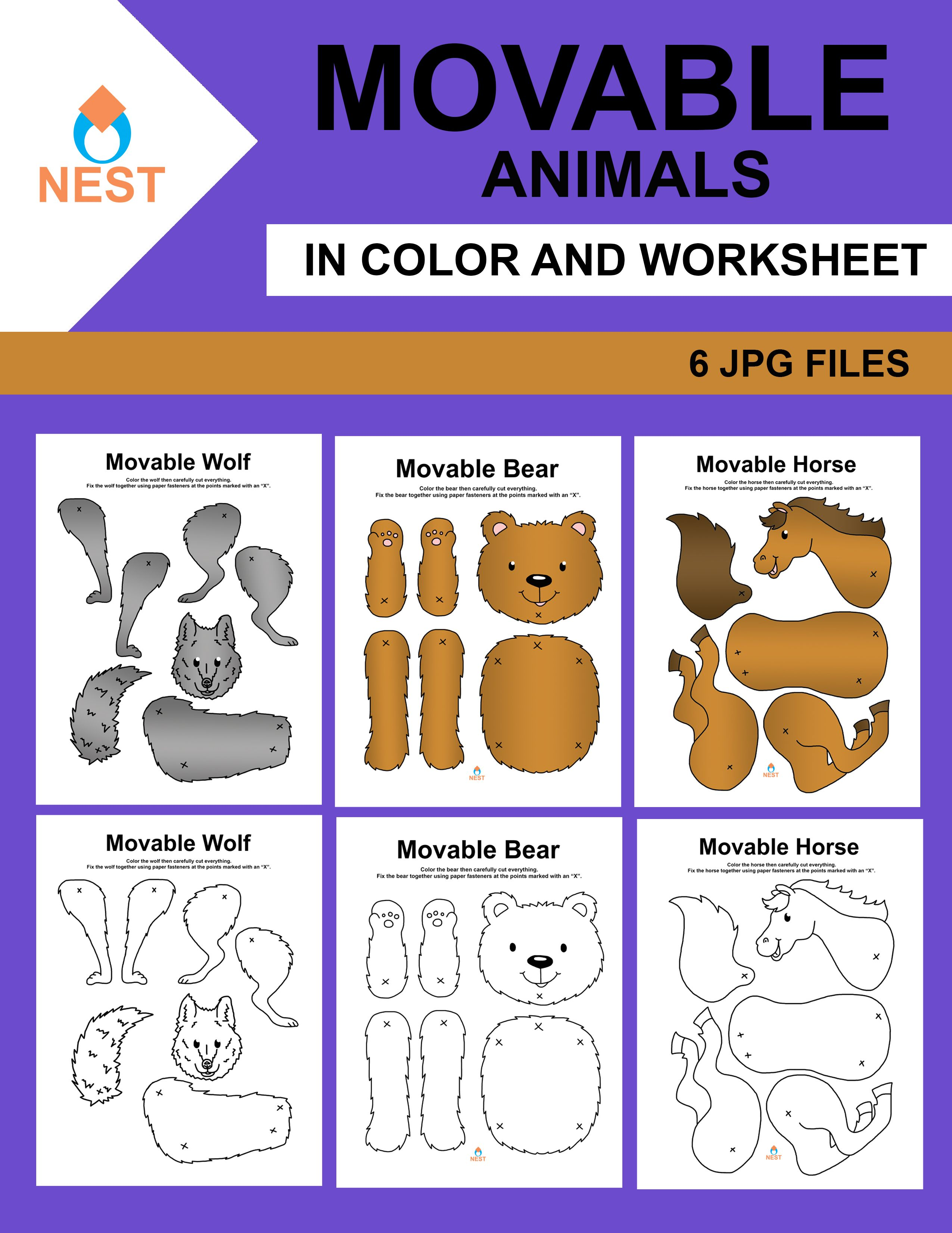 Movable Animals Worksheets