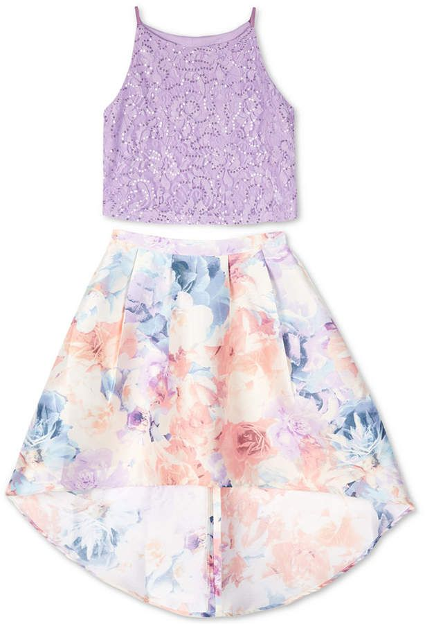 4c731dbe9628 Big Girls 2-Pc. Glitter Lace Top & Floral-Print Skirt Set in 2019 ...