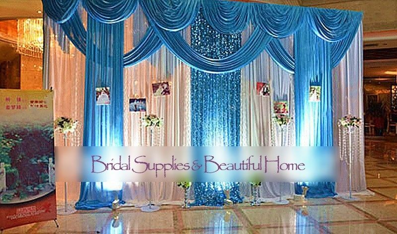 Luxury Wedding Stage Silk Backdrop Curtains Beauty Party Decor Detachable