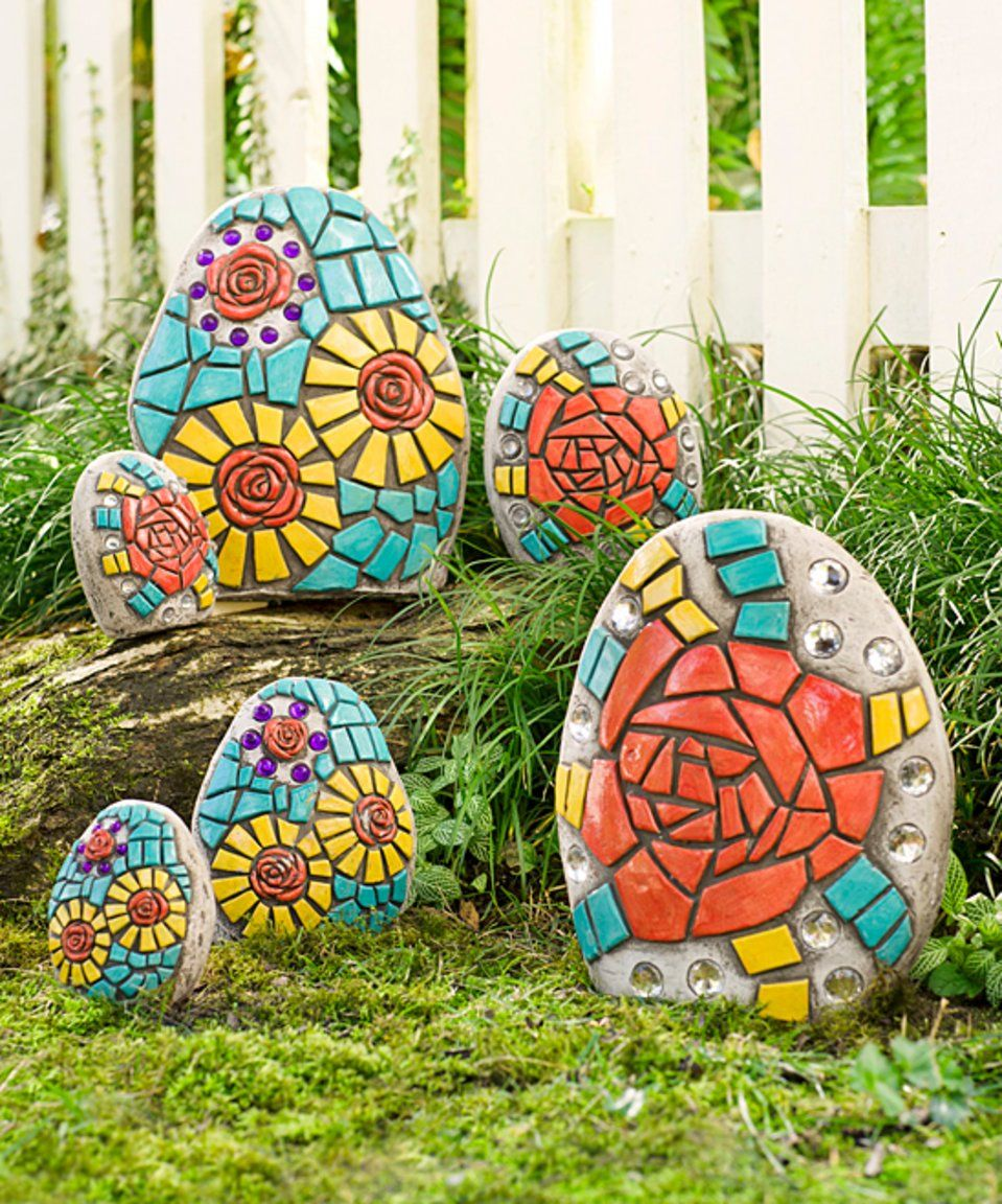 Take a look at this Mosaic Stone - Set of Six today! | Rock Garden ...