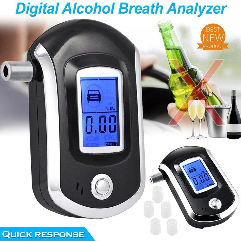 Police Digital Breath Alcohol Tester Breathalyzer LCD Display 5 Mouthpieces