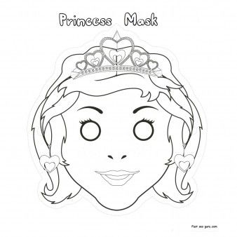 Printable Cut Out Princess Mask Coloring In