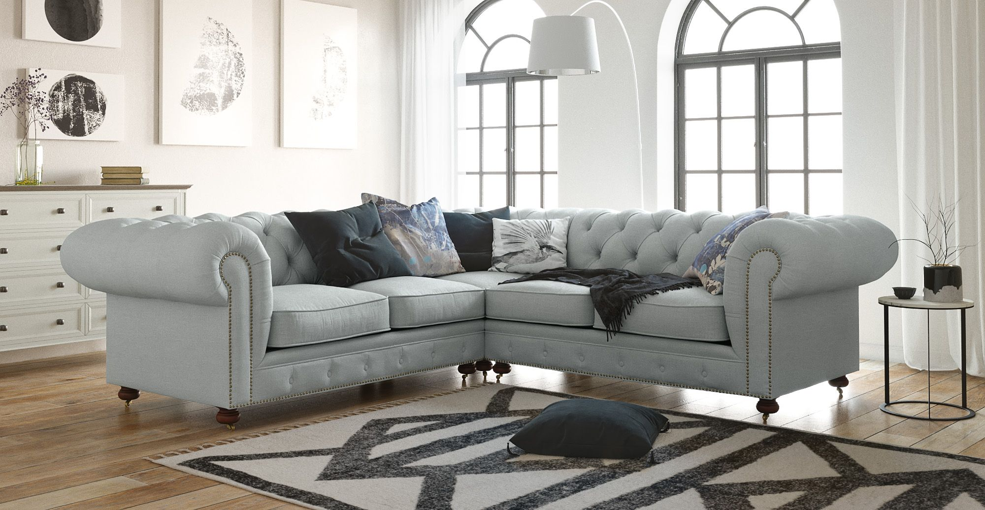 Camden chesterfield l shaped sectional corner sofa could be the centrepiece of any living room its designed to set the tone new furniture designs every