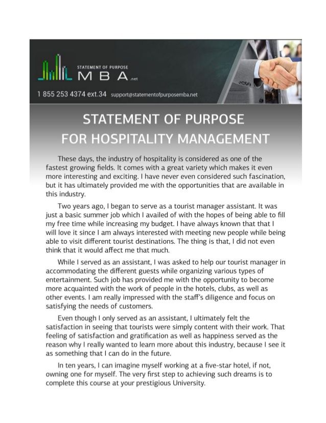 Example Statement Of Purpose For Hospitality Management  Avein