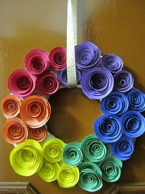 Bee S And San S Diy Rainbow Coloured Paper Rose Wreath Rainbow Wreath Rainbow Wreath Diy Paper Flower Wreaths
