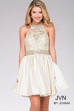 Light Gold Fit and Flare Halter Dress JVN42090 #GoldDress #PromDress ...