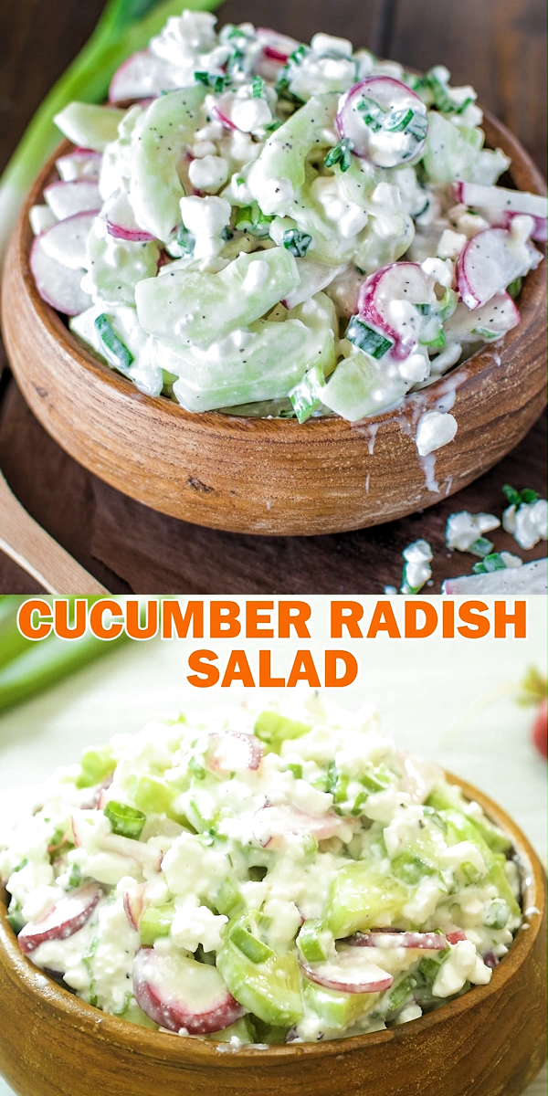 Cucumber Radish Salad – A healthy combination of refreshing cucumbers, crunchy radishes, and creamy cottage cheese. FOLLOW Cooktoria for more deliciousness! #cucumber #radish #salad #healthyrecipe #keto #lowcarb #vegetarian #summer #easyrecipe #cooktoria