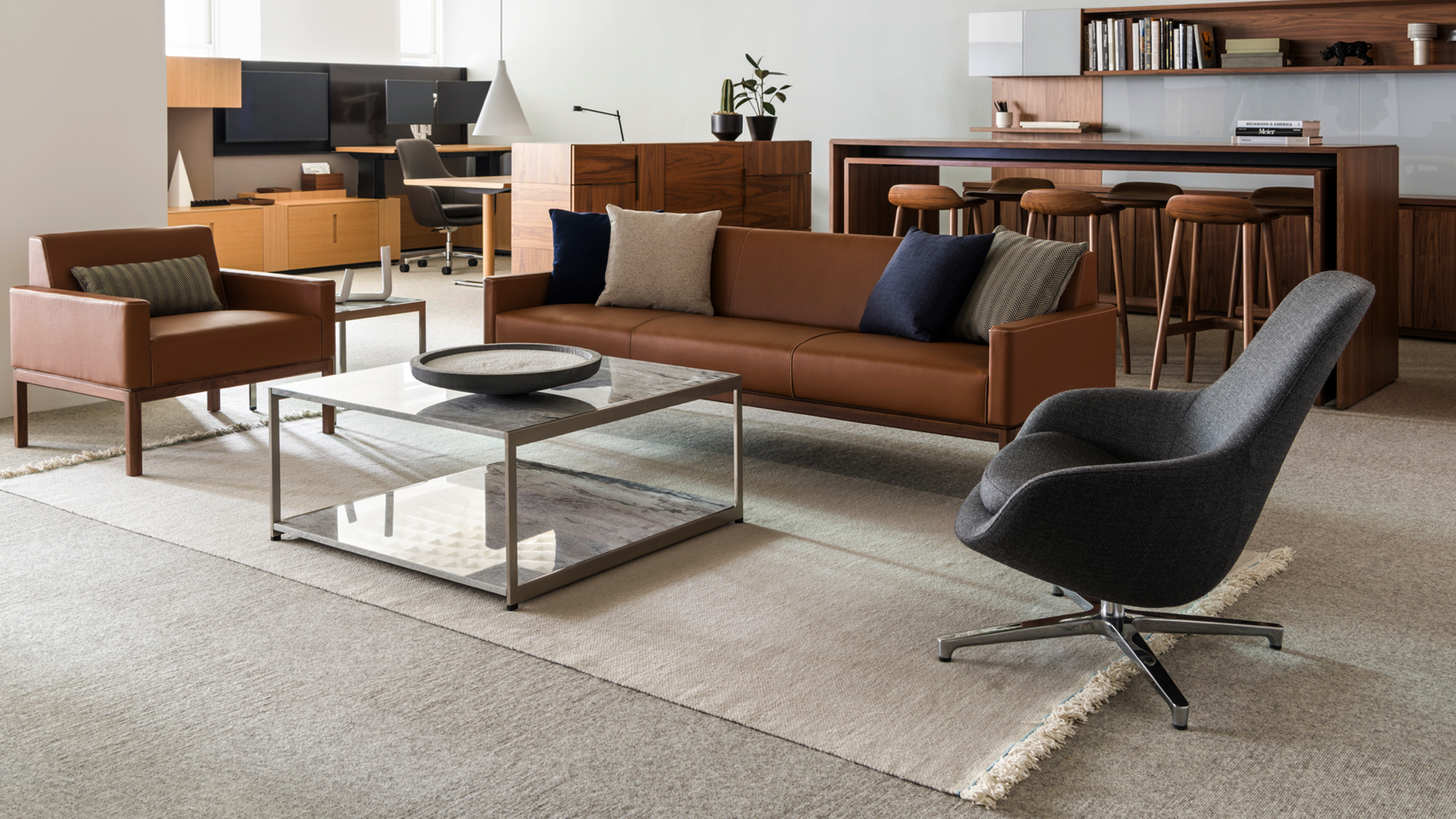 Wood Base Seating Saiba Lounge And H Frame Table By Geiger