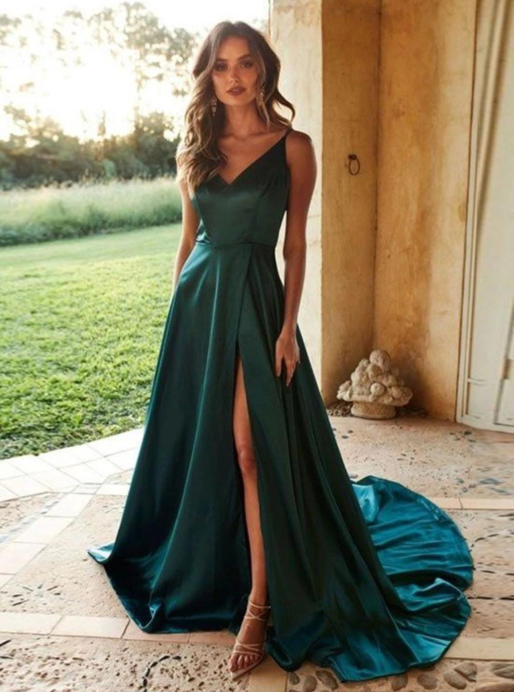 V Neck Side Slit Sexy Long Prom Dresses Green Formal Gown