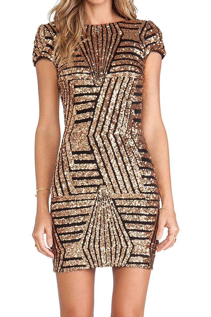 Gold geometric sequin short sleeve open back dress long prom dress