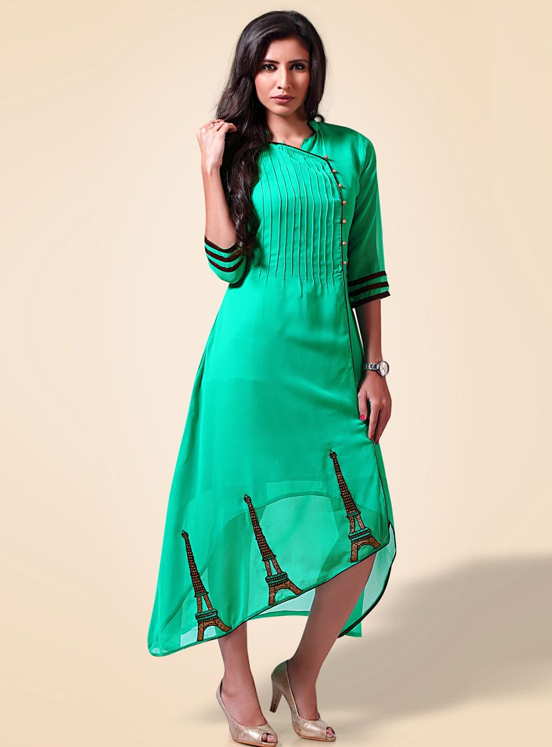 Sea Green Georgette Readymade Tunic 101200 | mode Inde | Pinterest ...