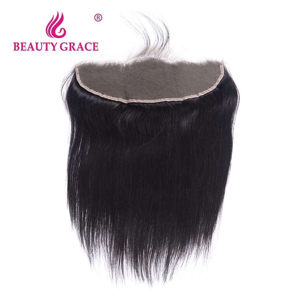 Cheap ear to ear, Buy Quality ear to ear frontal directly from China ear to ear closure Suppliers: Beauty Grace Brazilian 13x4 Ear To Ear Pre Plucked Lace Frontal Closure Straight With Baby Hair Remy Human Hair Free Part