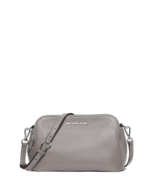 7220dd6a715e Bedford Medium Double-Zip Messenger Bag, Pearl Gray - MICHAEL Michael Kors