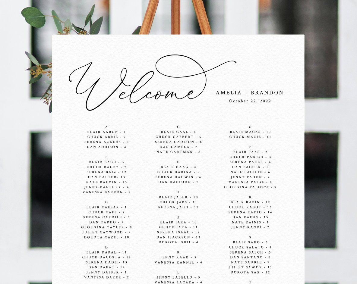 Welcome Wedding Seating Chart Template Table Chart Printable Alphabetical Seating Chart Board Wedding Sign Templett W30 Seating Chart Wedding Seating Chart Wedding Template Alphabetical Seating Chart