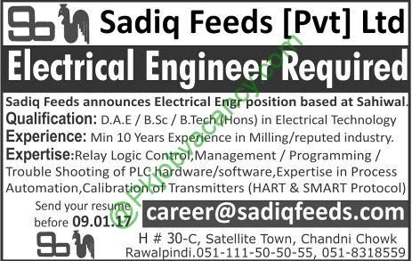 Sadiq Feeds Private Limited Electrical Engineer Jobs Jang - electrical engineer job description