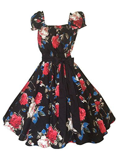 Fashion Bug Plus Size Clothing Women s Vintage Retro Black Rose Print Swing  Dress www.fashionbug.us  PlusSize  FashionBug  Vintage  Rockabilly  PinUp  1X 2X ... 840558843279