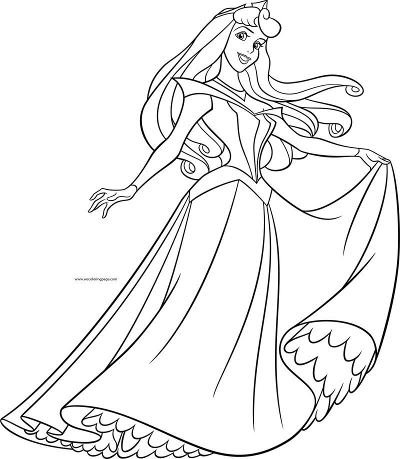 Disney Princess Aurora Pose Coloring Page Disney