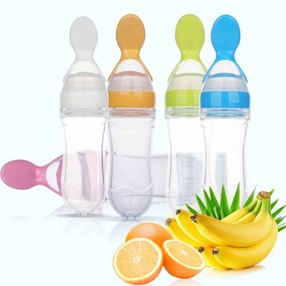With Extrusion Feeding Cereal Bottle Squirt Dispensing Baby Food Spoon Rice