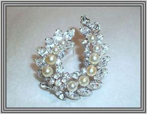 "Sherman Crystals Pearls 1 75"" Triple Tiered Open Garland Motif Brooch | eBay"