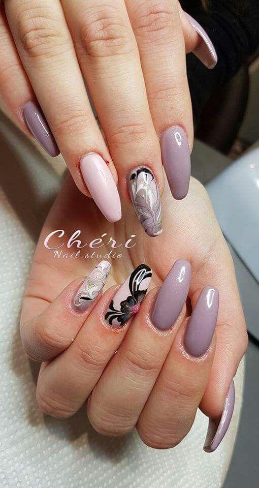 Lilla grigio rosa effetto marmo fiori