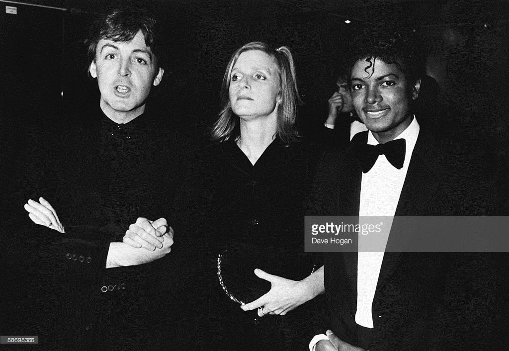 From left to right, Paul McCartney poses with his wife Linda and Michael Jackson (1958 - 2009) at the British Record Industry Awards (BRIT awards) in London, 16th February 1983. McCartney had won three awards, the Sony award for Technical Excellence, Best British Male Solo Artist and Outstanding Contribution to Music (this last on behalf of the Beatles).