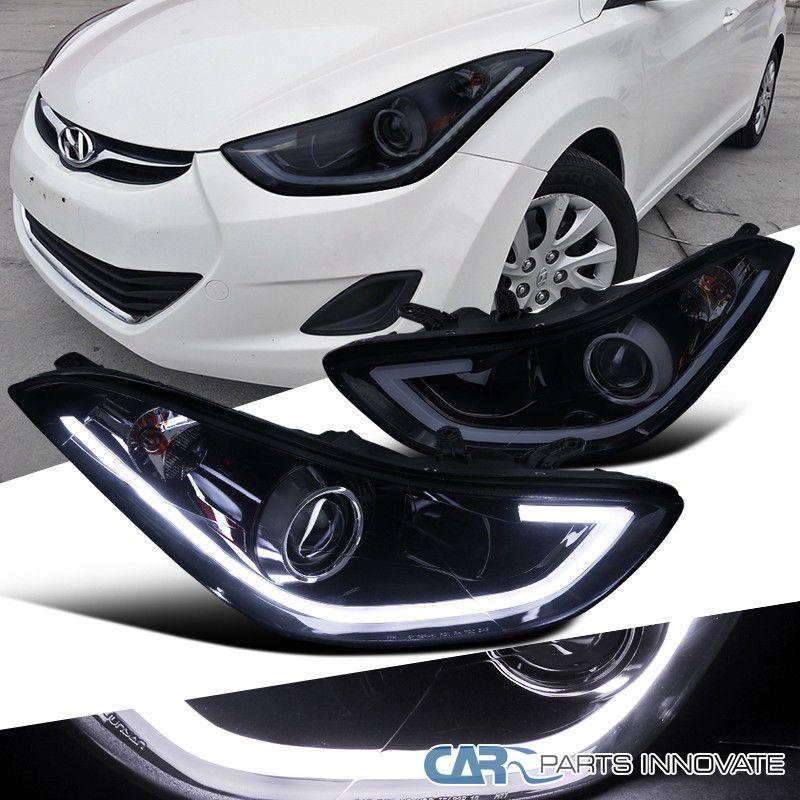 For 11 13 Elantra 4dr Sedan Glossy Black Smoke Led Strip Projector Headlights Elantra Projector Headlights Hyundai Elantra