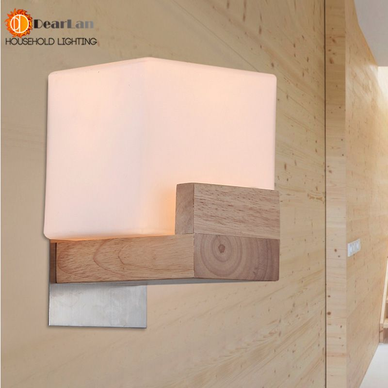 Minilism massief houten wandlamp matglas ikea japanse eiken hout ...