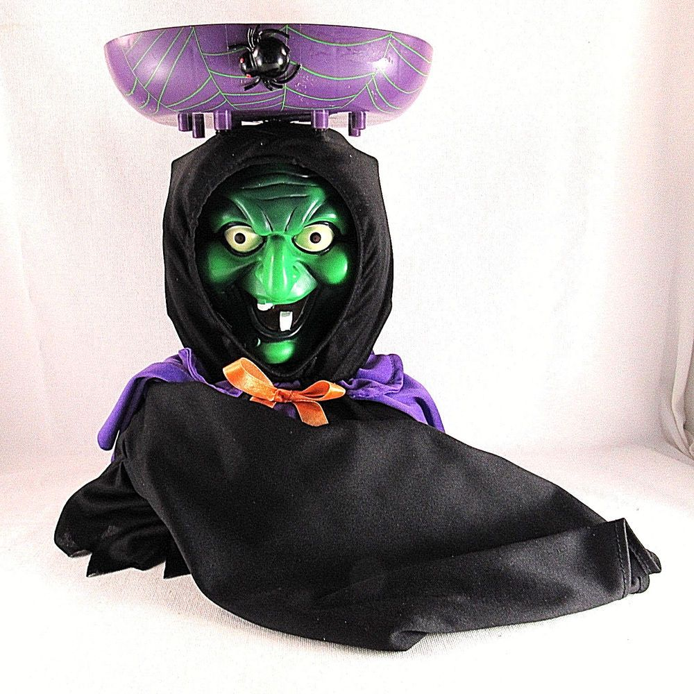 Halloween Witch Candy Dish Animated 2 Faced Talks Sound