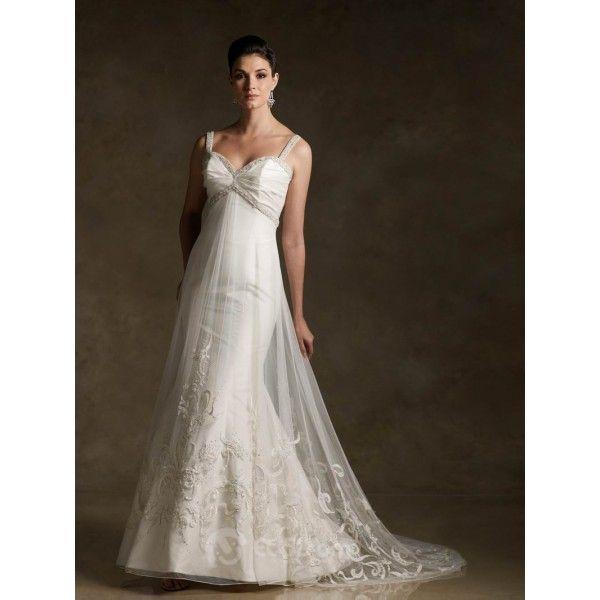 Empire Waist Beaded Embroidery Satin Organza Wedding Dress