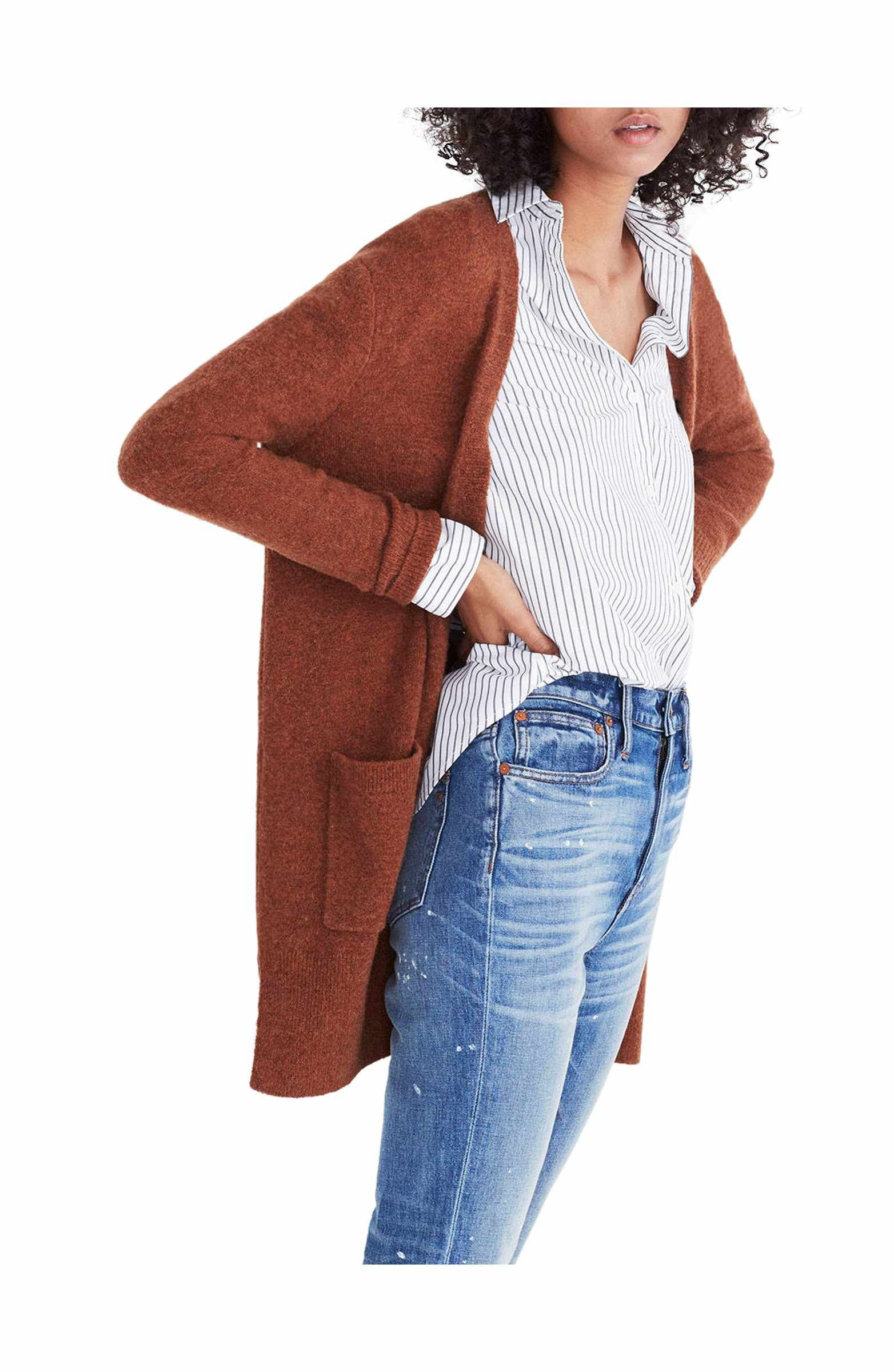 79fffbcca This cardigan and vertical stripe shirt! Love the rust color too ...