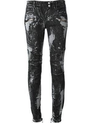 3a56f4e050 BALMAIN bleach-effect biker jeans - Farfetch | My Dark Style ...