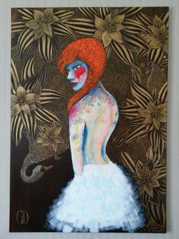 Lèda et le cygne - 116 × 86cm - acrylique