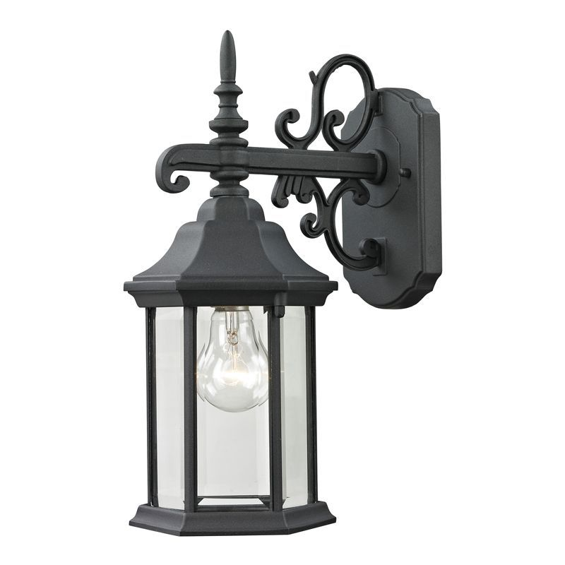 Cornerstone Lighting 8611EW Spring Lake 1 Light Outdoor Wall Sconce with Clear G Matte Black Outdoor Lighting Wall Sconces Outdoor Wall Sconces