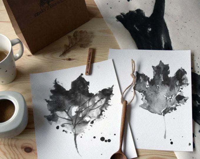 Blatt, Abbildung Schwarz Und Weiße Zeichnung, Abstrakte Wohnzimmer  Wanddekoration, Ahorn Herbst Blätter Overlay Set 2, Home Decor Fine Art  Print