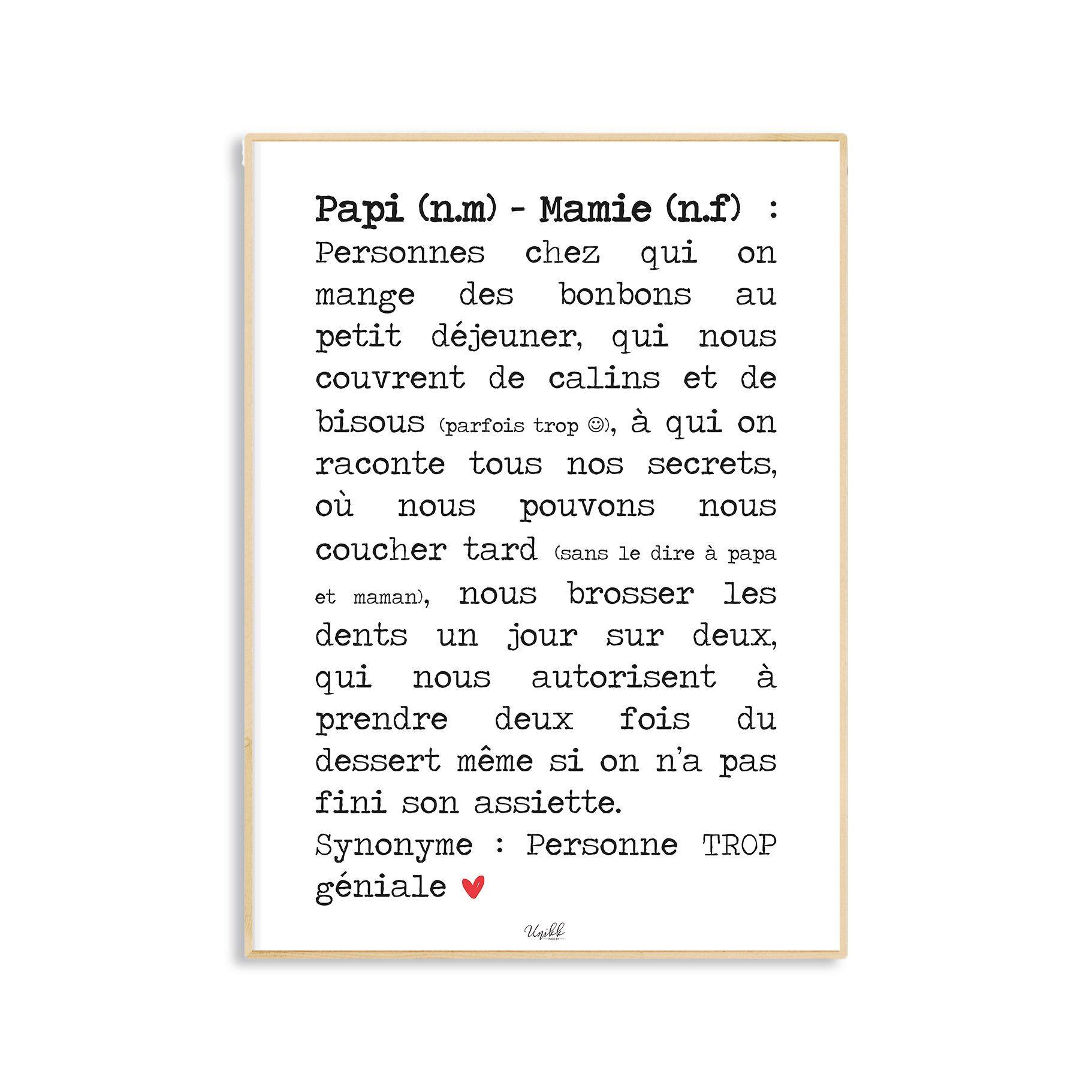 Affiche Definition Papi Et Mamie Idee Cadeau Cadeau Grand